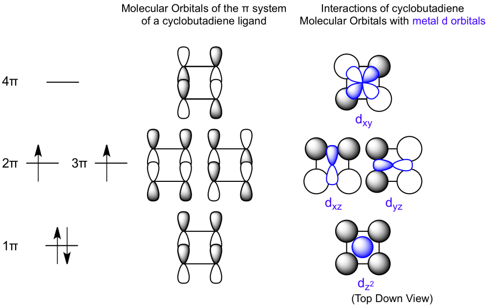 medium resolution of the bonding of cyclobutadiene involves matching the symmetry of metal d orbitals to the system configuration which allows for bonding interactions