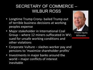 Secretary of Commerce Wilber Ross