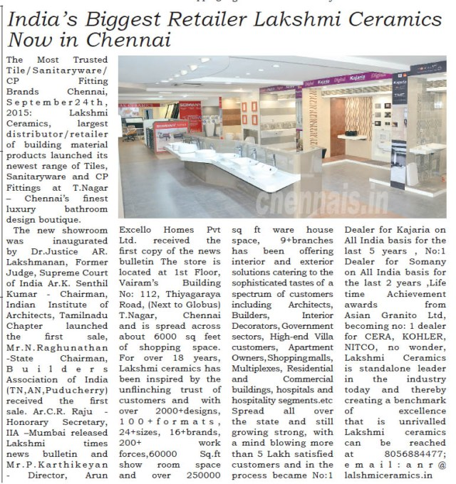 Lakshmi Ceramics Now at Chennai