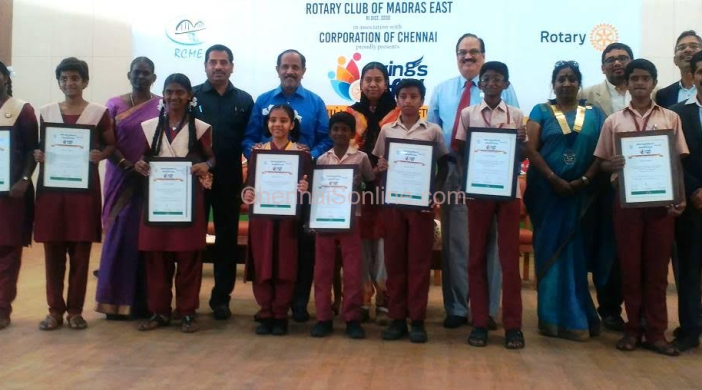 The winning students seen along with Ms. Asia Mariam, IAS and Mr. R. Nataraj, IPS (Retd.), District Governor Rtn. CR Raju, RI Dist 3230 and Rtn. Jayanthi Govindan, President, Rtn. Magesh Pattabhiraman and Rtn. Babu Krishnamoorthy, Secretary, RCM East.