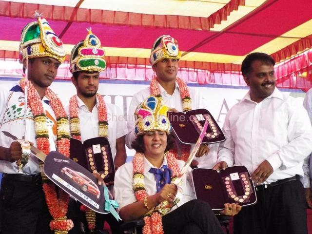 paralympic winners honoured chennai