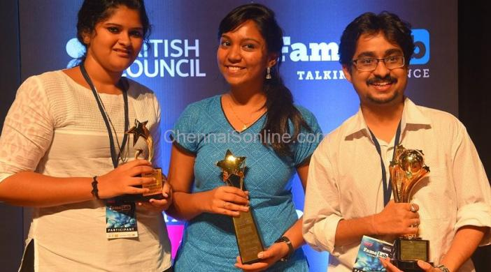 Winners Gayathri, Rini and Prabahan with their trophies