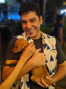 Cary Edward with a puppy