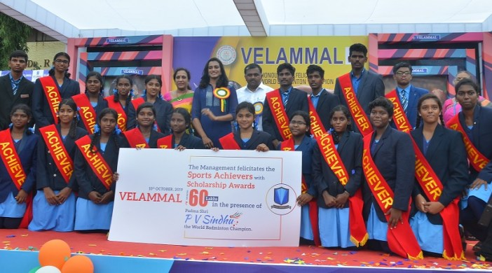 P.V. SINDHU PRESENTED VELAMMAL SPORTS SCHOLARSHIP AWARDS