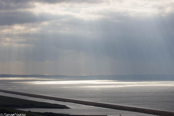 Chesil Beach from the downs