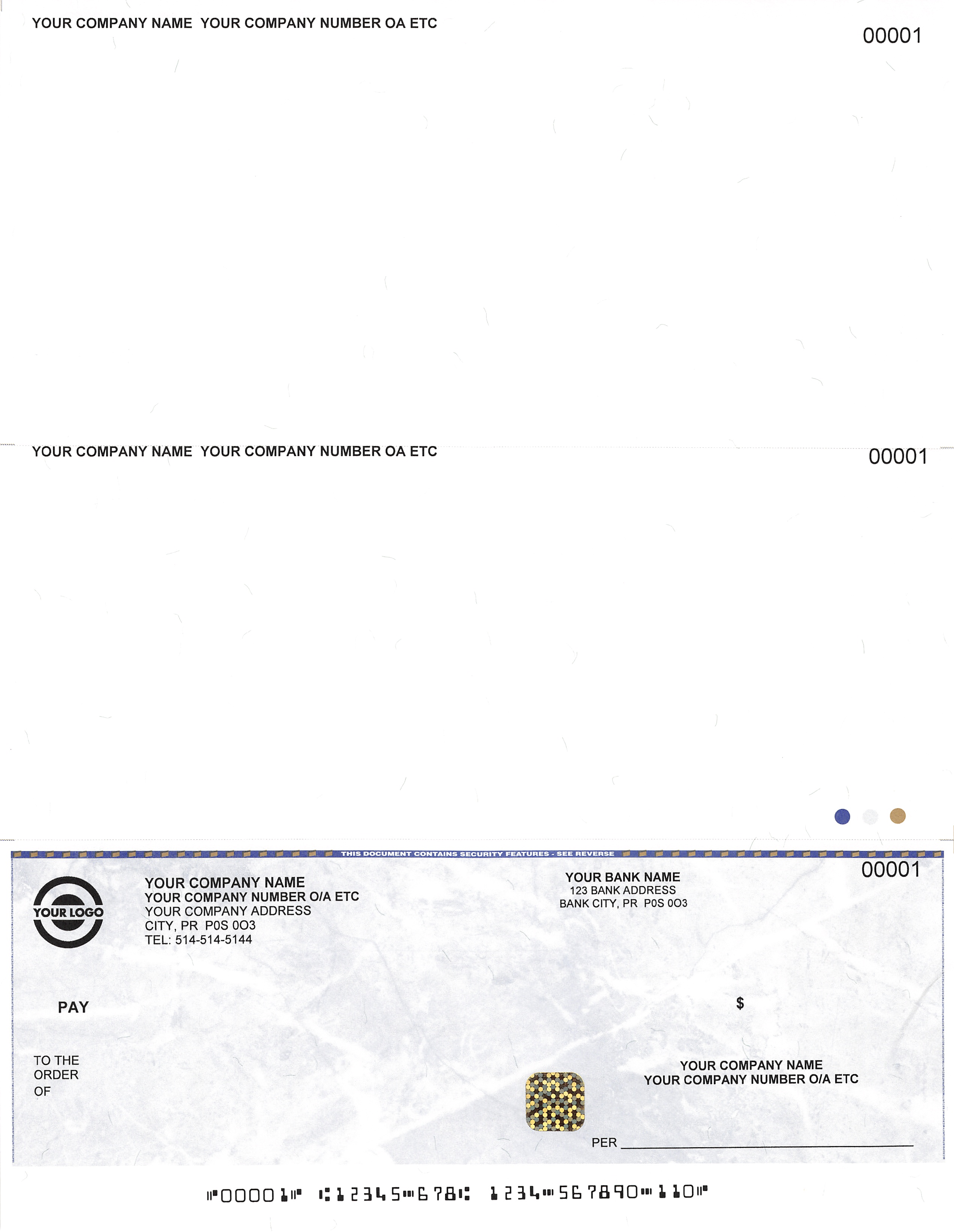 Cheque on bottom : Cheques Plus, Business And Personal