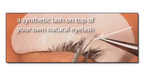 Eyelash Extensions Synthetic Lash Is Applied To Natural