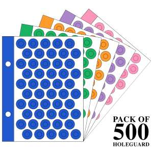 Multicolored Holeguard 6mm Self Adhesive Reinforcement PVC Smart Shield Sticker for Punched Papers (Tear Resistant) 500 Pieces 10 Sheet Per Pack