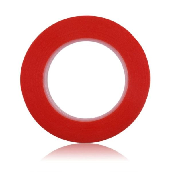 RED Strong Acrylic Transparent Adhesive - Double Sided Heat Resistant - (Polyester Tape) - 45 Meters in Length - 10mm Width