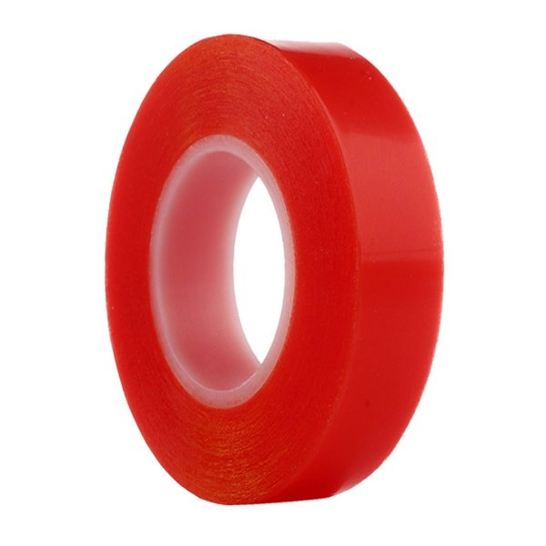RED Strong Acrylic Transparent Adhesive - Double Sided Heat Resistant - (Polyester Tape) - 45 Meters in Length - 12mm Width
