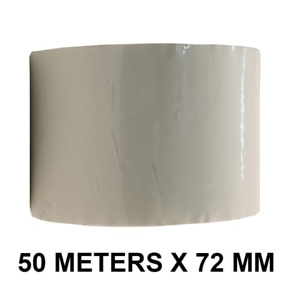"""White Color Tape - 72mm / 03"""" Width - 50 Meters in Length"""