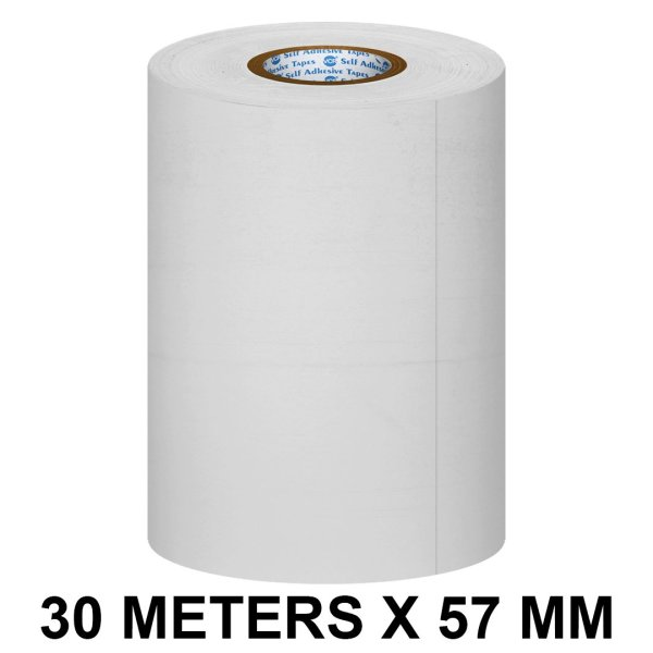 White Thermal Paper POS Roll - 57mm / 2 inches Width x 30 Meters in Length for Printing Receipts - Billing Machines / Register - 55 GSM Thickness - Black colour printing