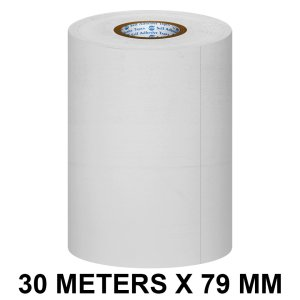 White Thermal Paper POS Roll - 79mm / 3 inches Width x 30 Meters in Length for Printing Receipts - Billing Machines / Register - 55 GSM Thickness - Black colour printing