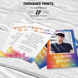 LBGTQ Pride Rainbow Prayer Card Prayer Card, Memorial Card, Funeral Card, Personalized Printable Card, In Memory of, Stationery, Remembrance