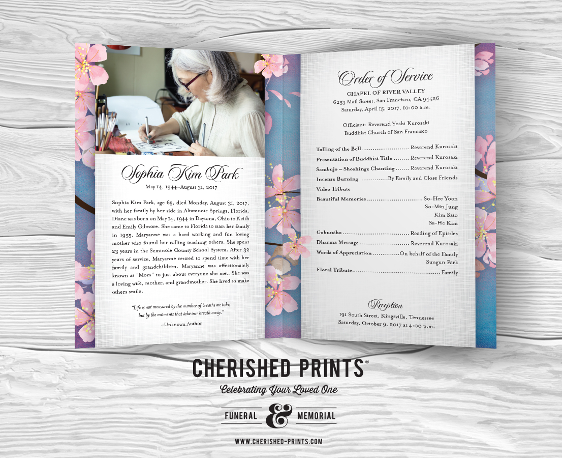 Memorial Service Invitation Wording Cherry Blossoms Celebration Of Life  Program For Funerals And 65