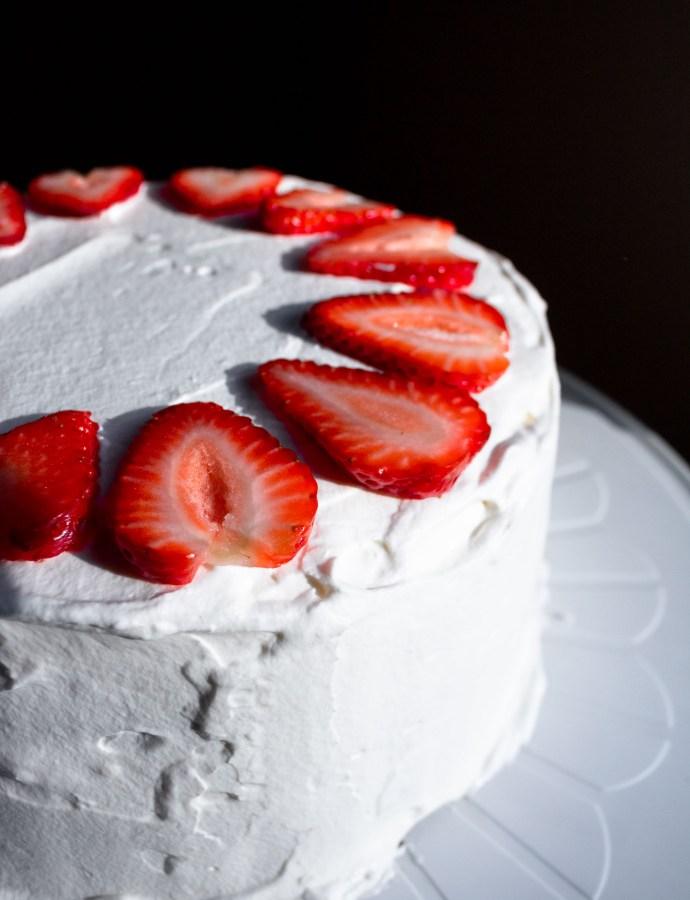 Strawberry Cream Layer Cake