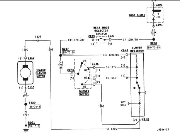 2000 jeep wrangler heater wiring diagram