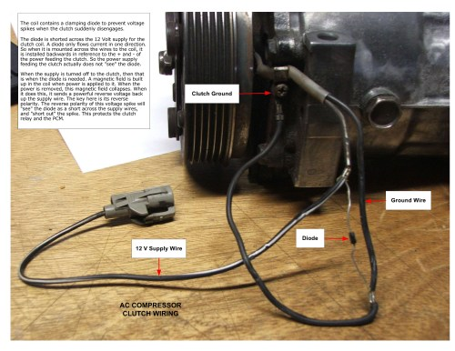 small resolution of wire for power going to the compressor clutch when the a c is turned ford a c clutch coil wiring