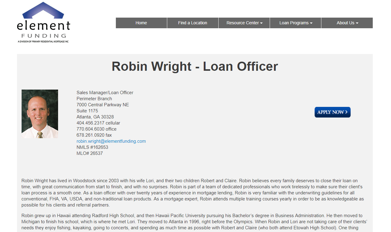 Element Funding, Robin Wright