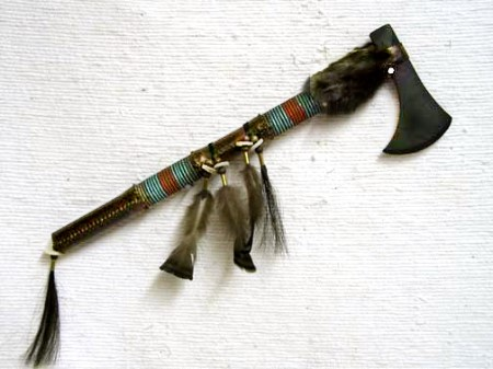 LARGE RAWHIDE WRAPPED HATCHET  Cherokee Visions