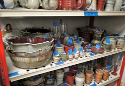 Online Store Pottery Organized on shelving
