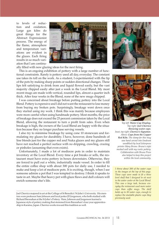 Page 4, Joel Cherrico Pottery, Ceramics Art and Perception, Technical, Handmade Grounds at the Local Blend, 2013