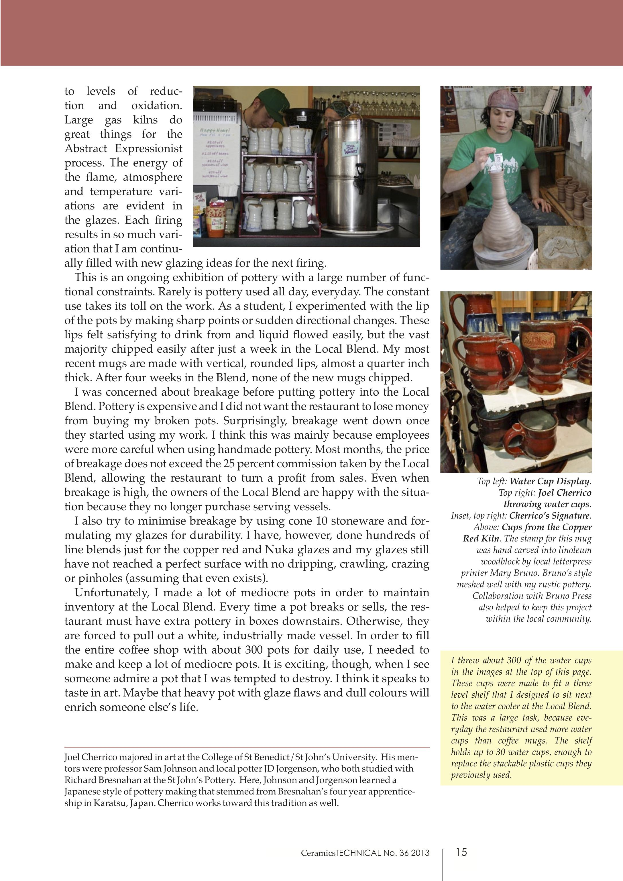 Ceramics Technical Handmade Grounds Joel Cherrico Pottery