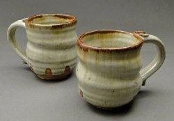 Stoneware Pottery Nuka Glazed Mugs with Iron Stain