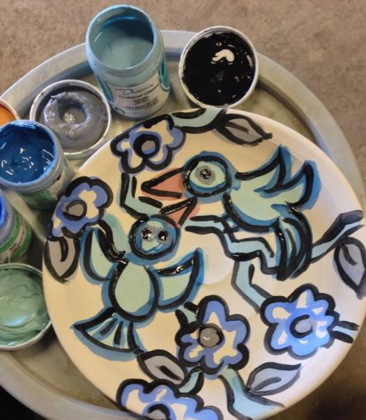 Paige Dansinger Painting on Plates, Joel Cherrico Pottery, Handmade Ceramic Painted Plates