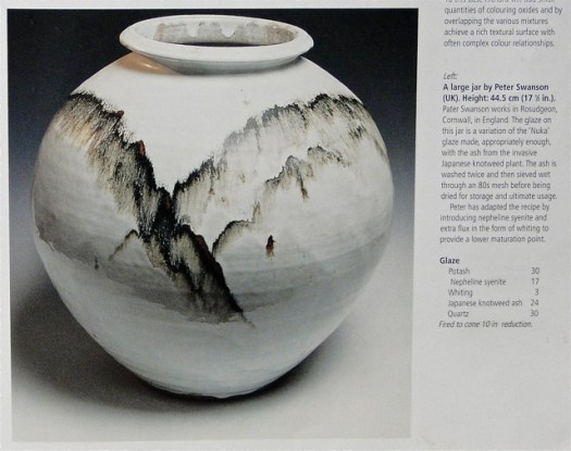 """Jar by Peter Swanson, from Phil Rogers, """"Ash Glazes."""" Joel's Nuka glaze recipe came out of this book, and he's conducted over 300 tests to experiment with the glaze at varying temperatures and in both gas and electric kilns. The drips of iron on this stunning pot exemplify an abstract depiction of a mountainous landscape."""