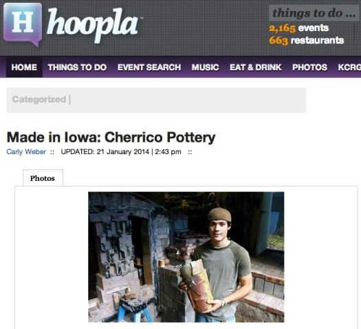 Hoopla Magazine Screen Shot, Cherrico Pottery, Made in Iowa