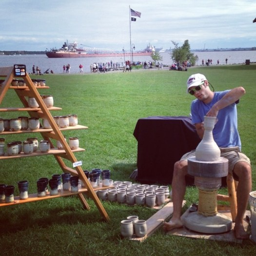 """Once each year, I set up an outdoor studio at """"Art in Bayfront Park"""" in Duluth, MN for a weekend of pottery making."""