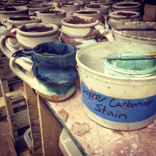 Glazing Pottery, Copper Carbonate Stain