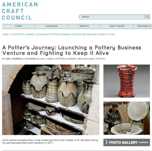 American Craft Council, Cherrico Pottery, A Potter's Journey, Handmade Ceramic Pottery, 2014