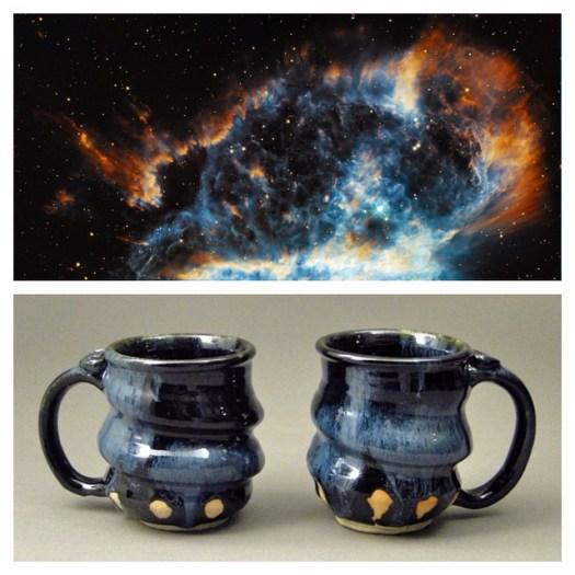Cosmic Mugs, Oil Spot Black, Cherrico Pottery, 2014