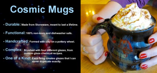 09, Cosmic Mug Details, Cosmic Mugs with a Tasty Beverage, Cherrico Pottery