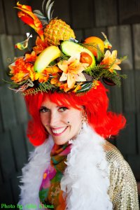 Cherry Capri in her famous fruity hat by Julie Klima