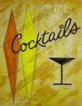 Cocktails at Sherman's 24x32, Acrylic and Mixed Media on Panel (2003) by Cherry Capri