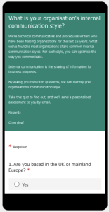 screenshot of questionnaire on internal communications