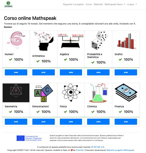 Mathspeakplatform home page in Italian