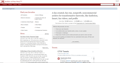 A screenshot of the homepage of Archive of Our Own, a repository for fanfiction and other derivative works.
