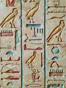 Egyptian hieroglyphics, like those pictured here, are among the oldest writing systems.