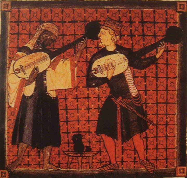 An illustration from a medieval Spanish illuminated manuscript, depicting two musicians, one Black and one white.