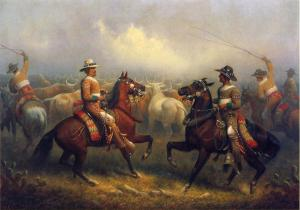 This 1875 painting shows vaqueros in California herding cattle. One of the men in the foreground is a person of color.