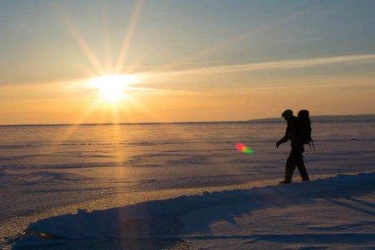 Lake Michigan winter sunset