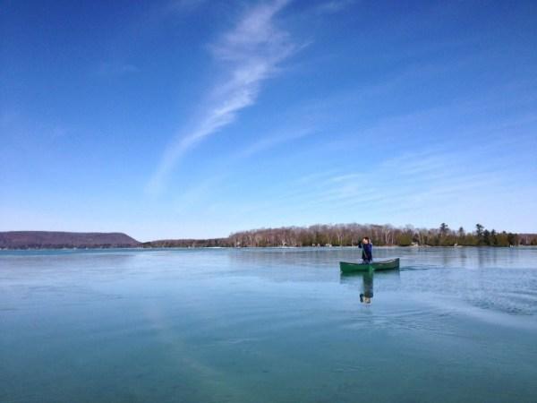 Bob canoeing on a frozen Glen Lake