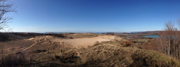 The view from the Dune Overlook out towards Lake Michigan.