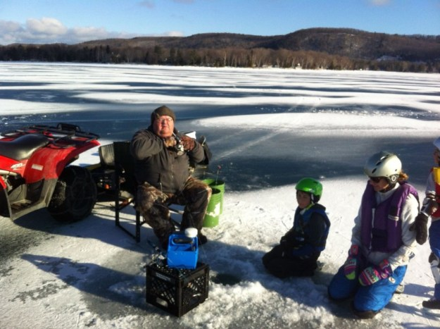 Ice fishing on Glen Lake