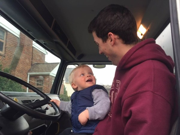 Big smiles! Maybe one day Stephen will be driving this truck without Uncle T!
