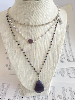 Three Strand Purple Druzy Necklace